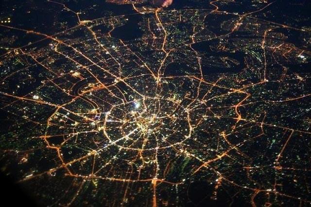 Ночная Москва из космоса